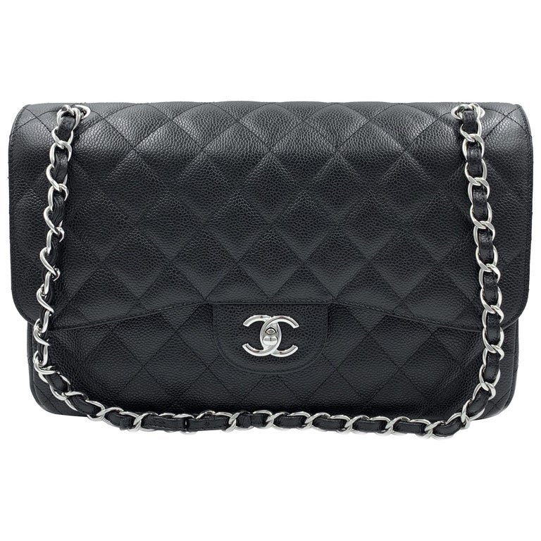 bffd608b559b Chanel Classic Jumbo Double Flap Caviar Silver Hardware Leather Black Bag  For Sale