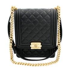 Chanel Boy Handbag Grained Calfskin Gold Tone Black Leather Flap Bag
