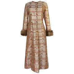 Fall 1968 Oscar de la Renta Metallic Gold Silk Brocade Caftan Dress
