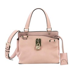 Valentino Joy Lock Top Handle Bag Leather Small