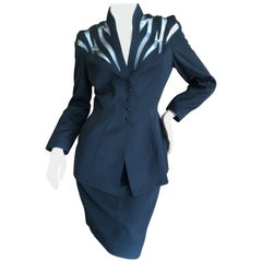 Thierry Mugler Vintage 1980's Black Peplum Suit with Sheer Flame Pattern Details