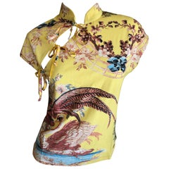 Roberto Cavalli Spring 2003 Silk Cheongsam Style Floral Top Size Large