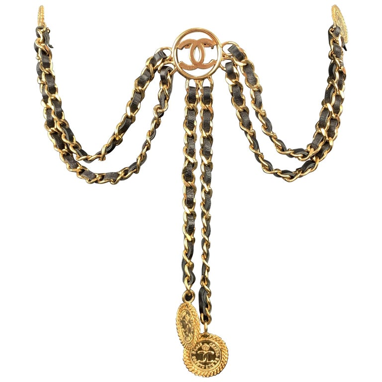 CHANEL Gold Tone Metal Leather Chain Triple 3 Pin Chatelaine Brooch - Season 28 For Sale
