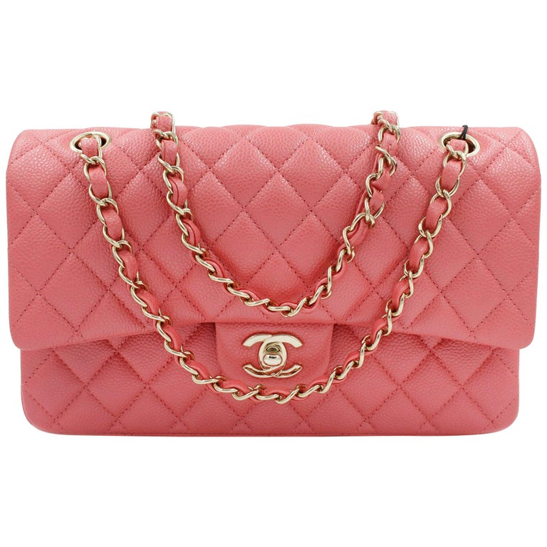 44f29e987acd Chanel Pink Shiny Quilted Caviar Medium Classic Double Flap Bag For Sale