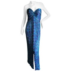 Bob Mackie Vintage 70's Strapless Bugle Beaded Embellished Silk Evening Dress 12