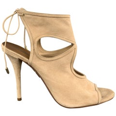 AQUAZZURA Size 12 Tan -Nomad-Suede Sandals