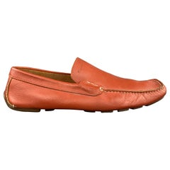 SALVATORE FERRAGAMO Size 10.5 Brick Solid Leather Drivers Loafers