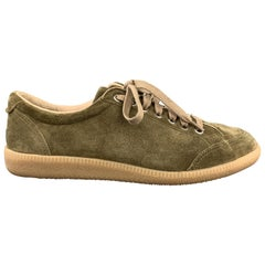 BORRELLI Size 8 Olive Solid Lace Up Sneakers