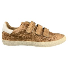MAURO VOLPONI Size 8.5 Tan Textured Velcro Closure Sneakers