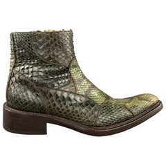 MAURO VOLPONI Size 8 Olive Textured Side Zipper Boots