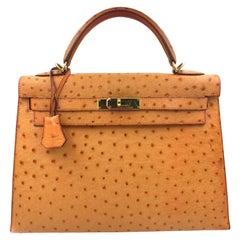 Hermes Kelly 30 Ostrich Leather Gold Tone Hardware Ladies Handbag