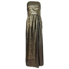 1970s Pauline Trigere Strapless Gold & Black Lame Dress and Huge Shawl