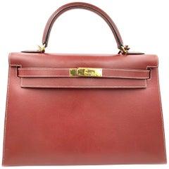 4fe1c5222a71 Hermes Kelly 30 Wine Color Leather Ladies Handbag