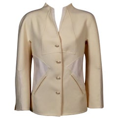 Chado Ralph Rucci Cream Wool Jacket with Pieced White Leather Panels