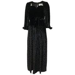 Fall 1986 Yves Saint Laurent Leopard Print Velvet Sweetheart Neckline Dress