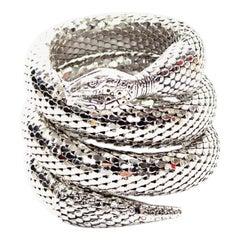 Vintage Whiting & Davis 1970s Silver Mesh Coil Snake Bracelet