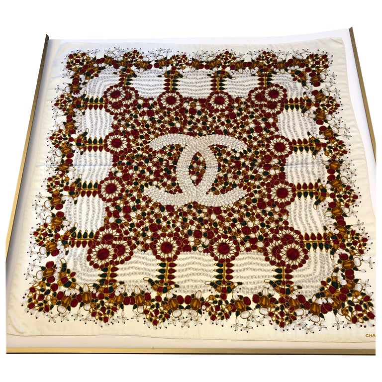 Stunning Chanel Bijoux Collection Silk Scarf 34x34 with Chanel Envelope For Sale
