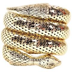 1970s Gold Mesh Whiting & Davis Vintage Coil Snake Bracelet