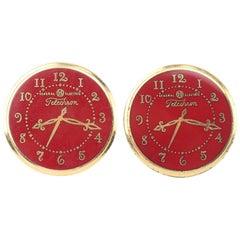 General Electric Telechron Clock Novelty Cufflinks, 1950's