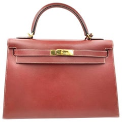 Hermes Kelly 30 Wine Color Leather Ladies Handbag