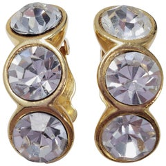 Large Clear 3 Crystal Clip On Earrings in Gold Tone, Mid 1900s