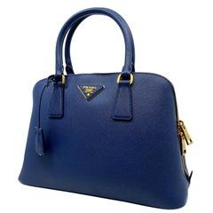 Prada Bluette Saffiano Lux Leather Promenade Satchel Bag 1BA837 F0016