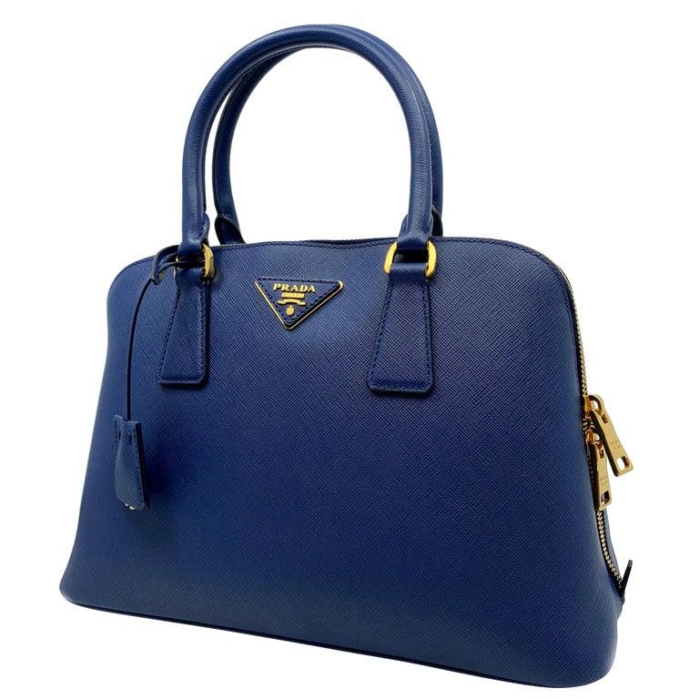 e97ad67ed22a Prada Bluette Saffiano Lux Leather Promenade Satchel Bag 1BA837 F0016 For  Sale