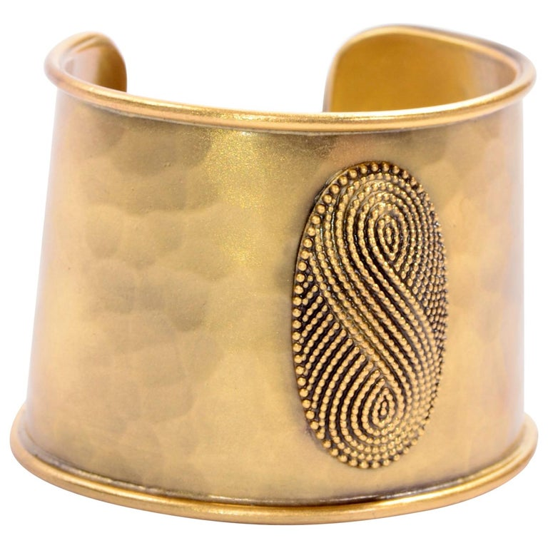 Yves Saint Laurent YSL Vintage Hammered Gold Cuff Bracelet For Sale