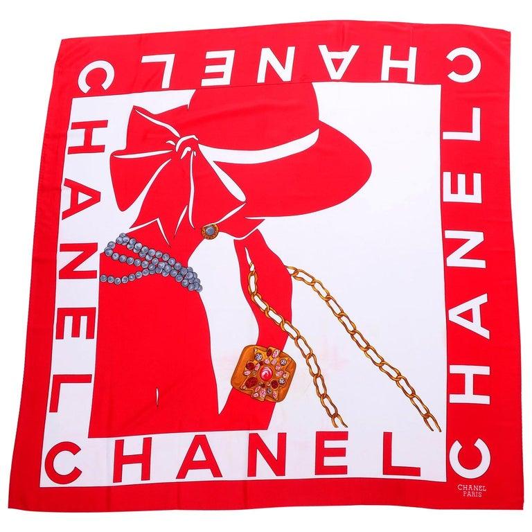 1990s Chanel Red & White Silk Scarf W/ Woman in Hat Earrings  & Pearls