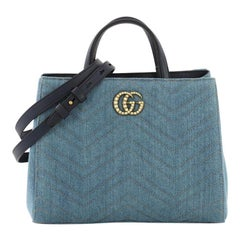 Gucci Pearly GG Marmont Tote Matelasse Denim Small