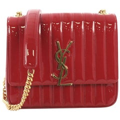 Saint Laurent Vicky Crossbody Bag Vertical Quilted Patent Large