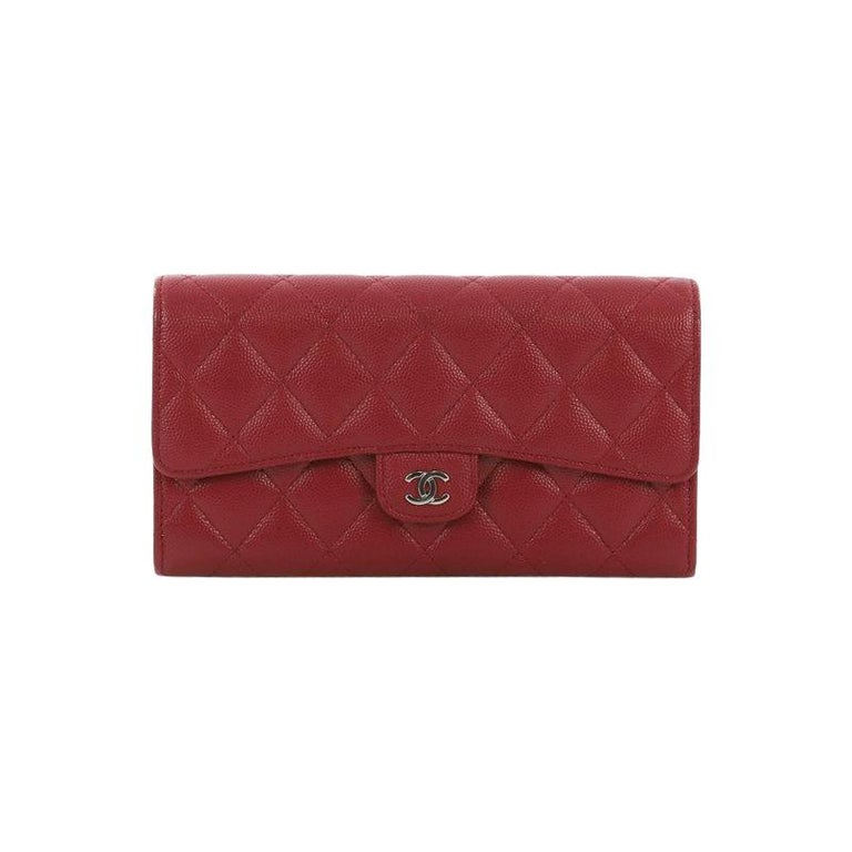 cb6ffd83a85c Chanel CC Gusset Classic Flap Wallet Quilted Caviar Long For Sale at ...