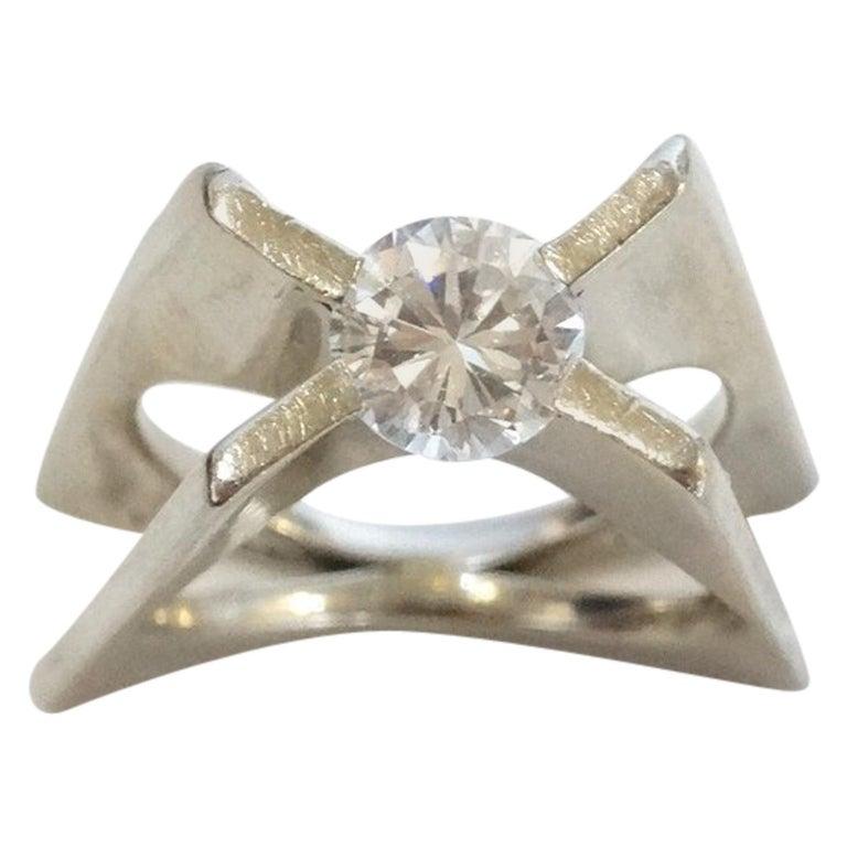 1960s Whitt for Georg Jensen 1 Carat Diamond Ring For Sale