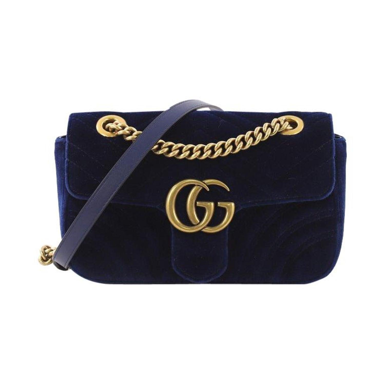 c2c88368055c Gucci GG Marmont Flap Bag Matelasse Velvet Mini For Sale at 1stdibs