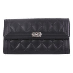 Chanel Boy Flap Wallet Quilted Lambskin Long