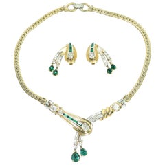 Mazer Bros. Gold & Rhodium Emerald Asymmetrical Necklace & Earrings Set, 1940s