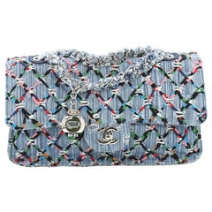 Chanel Data Center Charm Flap Bag Quilted Denim Medium