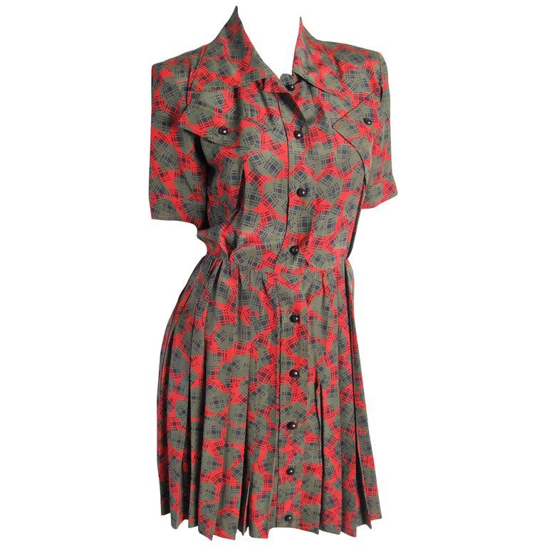 "1980s Yves Saint Laurent silk ""1940's"" dress For Sale"