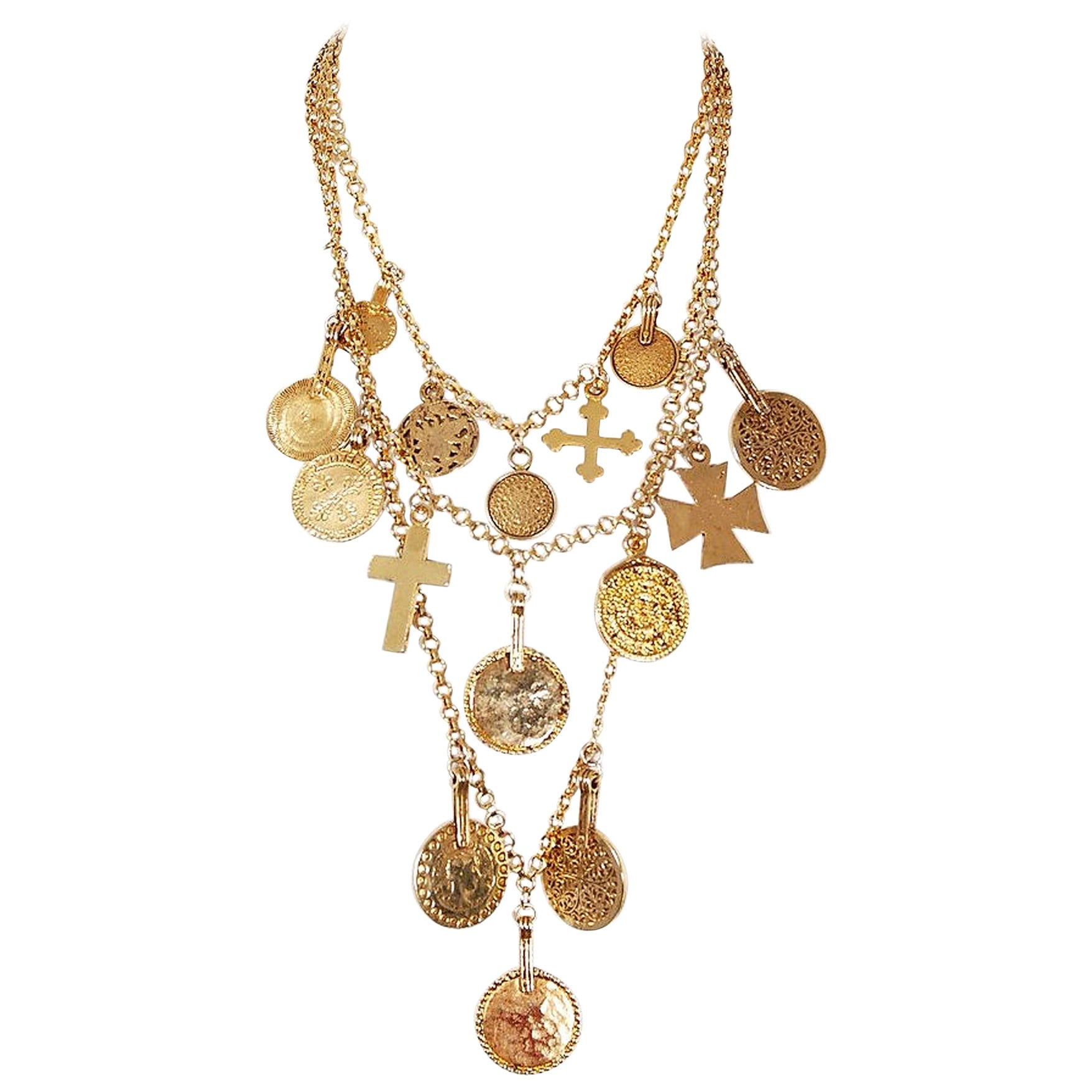 e3c7df9e94d 1977 Yves Saint Laurent Gypsy Gold Coin and Cross Medallion Charm Layered  Necklace at 1stdibs