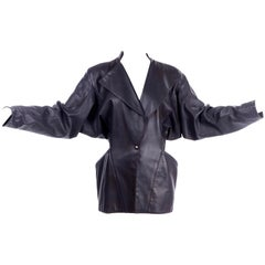 1980s Azzedine Alaia Avant Garde Vintage Leather Jacket W/ Pockets