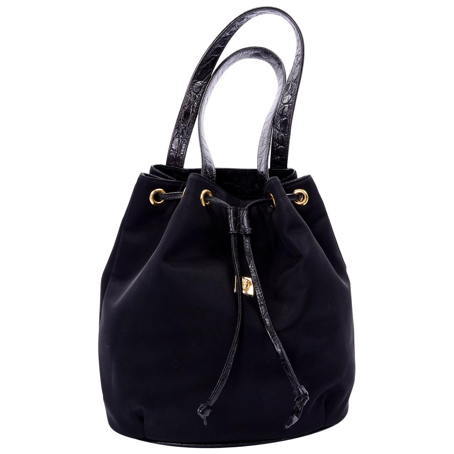 Gianni Versace Couture Handbag Vintage Black Drawstring Bag W/ Medusa Head
