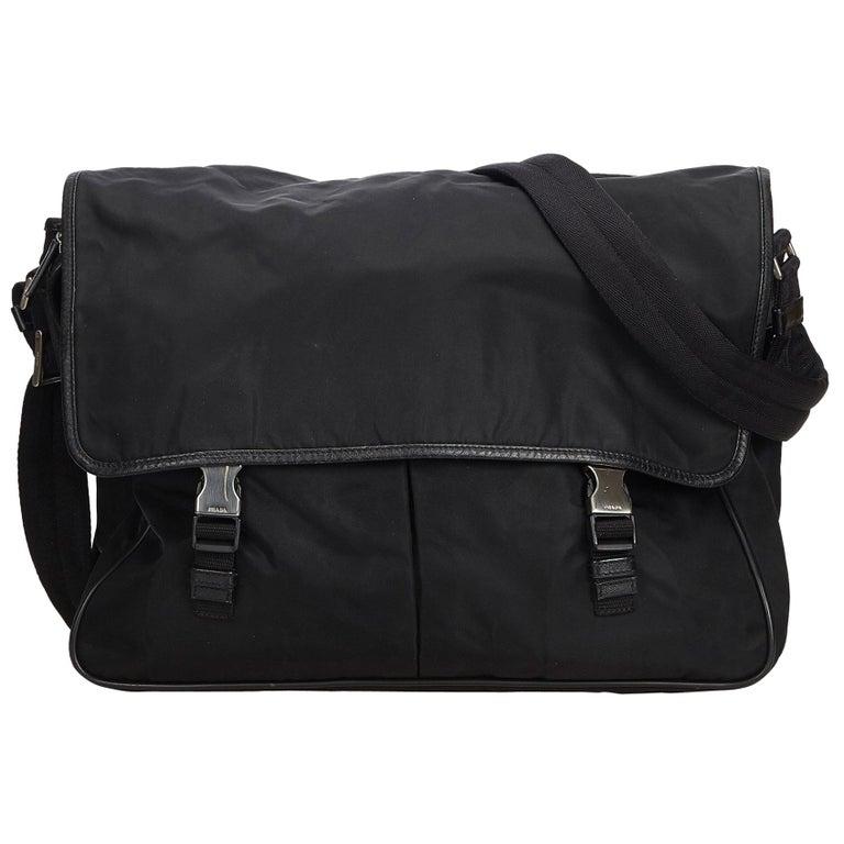 a8181bd341 Prada Black Nylon Fabric Messenger Bag Italy For Sale at 1stdibs