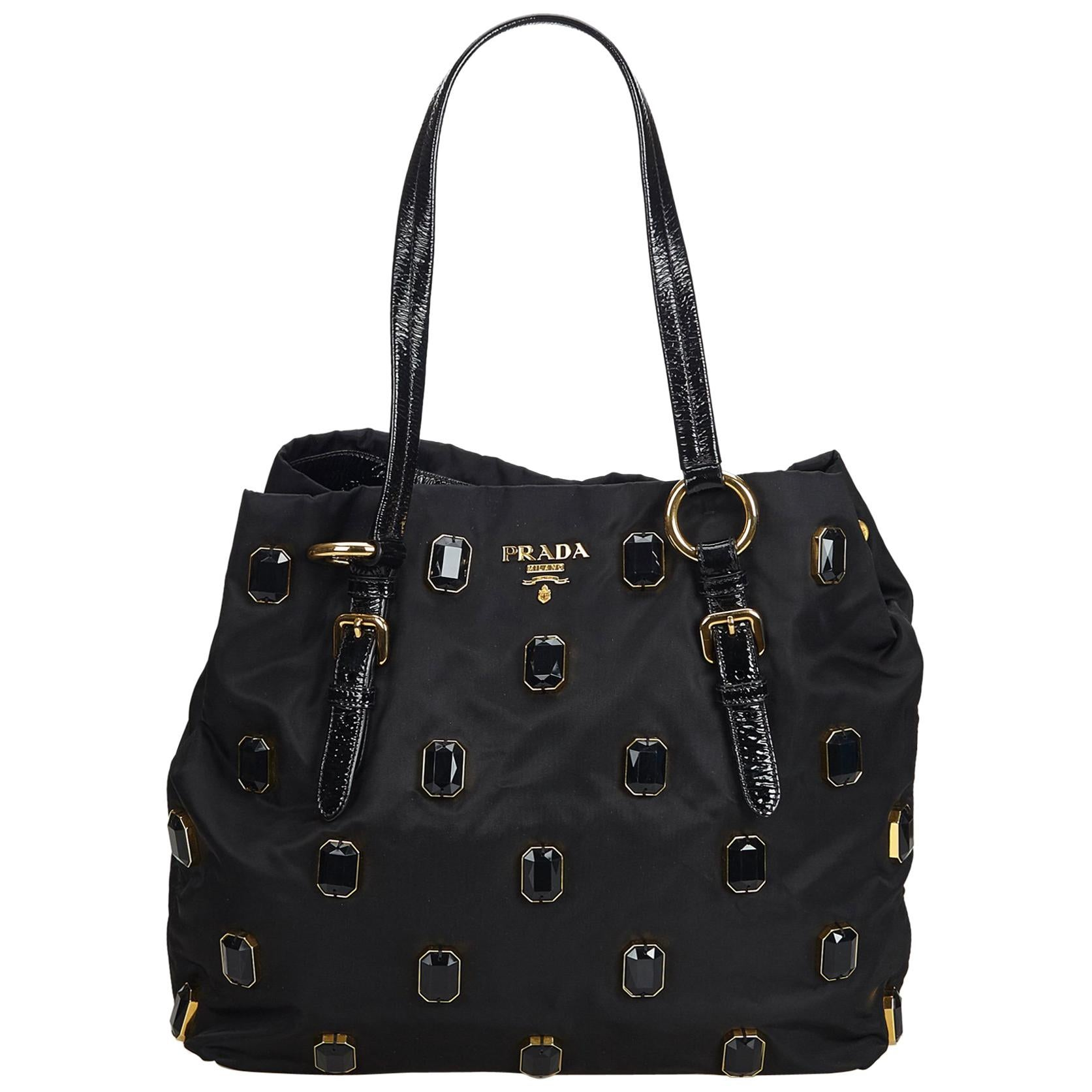 3c4c9ae0ea886b Prada Green Nylon Fabric Tessuto Pietre Tote Bag Italy w/ Dust Bag For Sale  at 1stdibs