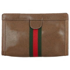 Gucci Brown Dark Brown Leather Web Clutch Bag Italy