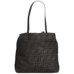 Fendi Brown Coated Canvas Fabric Zucca Tote Bag Italy