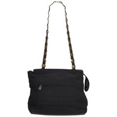 Ferragamo Black  Fabric Tiered Grosgrain Chain Tote Italy