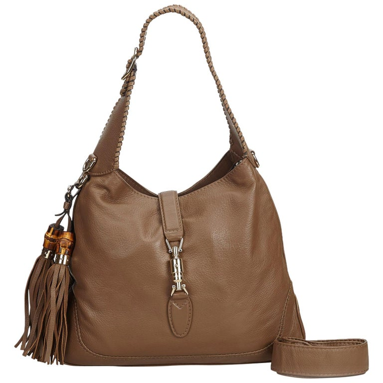 Gucci Brown Leather New Jackie Tassel Hobo Bag Italy