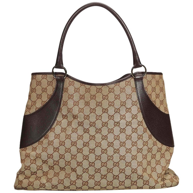 4482be887613 Gucci Brown Beige Canvas Fabric GG Tote Bag Italy at 1stdibs