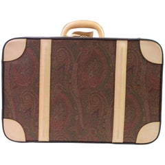 Etro Paisley Trunk Suitcase 866601 Brown Coated Canvas Weekend/Travel Bag