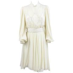 1980s Leggenda Cream White  Silk Dress